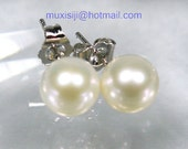 Genuine AAA upper Grade 8.5mm White Perfect Round Akoya Pearl Earring 14K