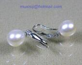 Genuine AAA upper Grade 10x11mm White Drop South Sea Pearl Earring 14K