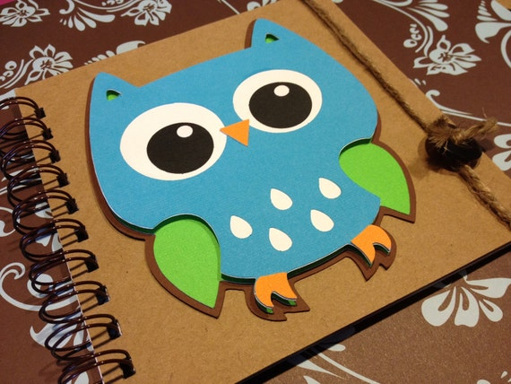 Whooo's 2 Cute -- Blue Green Owl -- Boy or Girl -- Memory book -- Guest Book -- Birthday Party -- Baby shower