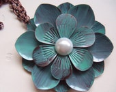 Awesome Blossom Metal Flower Blue and Copper Necklace