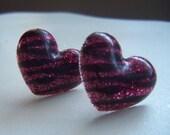 Jungle Fever Zebra Print Heart Stud Earrings
