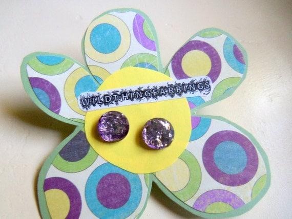 I Heart Purple Foil Stud Earrings