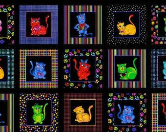 Cool Cats Fabric Panel by Loralie