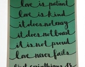 Love - 1 Corinthians 13 - Teal Ombre - 8x10 Illustrated Print