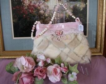 Pearly Pink Mink Basket Purse PK Kreationz