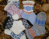 Wool socks, Warm Socks, Monday to Friday, Crazy and Decorative, Set of 5, 1 Kneelength Pair (made to order)