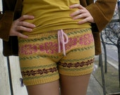 Knitted Shorts, Cute, Cosy and Warm, Decorated with Amber Beads (XS size ready to ship)