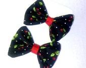 Sweet As Cherry Pie Rockabilly Hair Bow Set