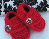 Valentines Day Red Rock Star Crocheted Loafers Baby Boy or Girl sizes 0-3, 3-6, 6-9, 9-12 months Cute Adorable Shower Gift Photography Prop