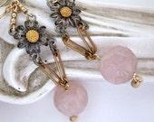 Mixed Metal Earrings, Chandelier Earrings, Pink Flower Earrings, Vintage Repurposed Earrings Gold Filled Silver OOAK Jewelry Gift For Her
