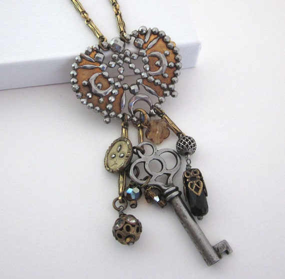 Vintage Wire Chain Jewelry Making Brass Chain Custom: Vintage Assemblage Charm Necklace Cut Steel Skeleton Key