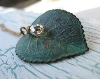 Verdigris Leaf  Necklace