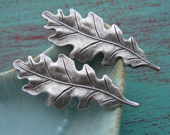 Matte Silver Oak leaf Stamping