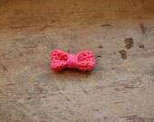 pink orange corral bow tie applique