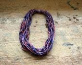 red white blue purple necklace scarf lariat handmade crochet chain hand dyed wool fiber art jewelry accessories women teen girl fashion