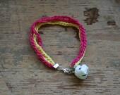 pink yellow bracelet pig bell charm jewelry accessories kitsch kawaii women teen girl fashion jingle farm animals handmade crochet chain