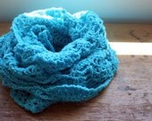 turquoise blue triangle scarf shawl wrap capelet cowl scarflette infinity scarf super slouchy handmade crochet lacy pineapple clothing