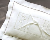 Italian Art nouveau Wedding Pillow Hand embroidered initials linen