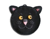 Black Cat pot holder crochet personalised