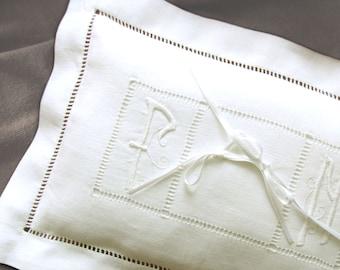 Italian Art nouveau Wedding Pillow Hand embroidered initials linen