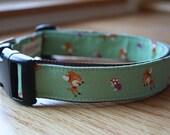 Dog Collar Green Japanese Deer Print / Mint Green, Tan, Purple /  Cotton Covered Nylon Webbing Collar with Plastic Buckle
