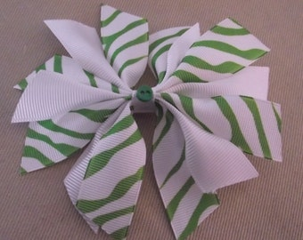 Green and White Zebra Hair Bow