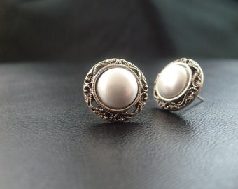 1920's Pearl Filigree Wedding Stud Earrings, Affordable Vintage Wedding Earrings