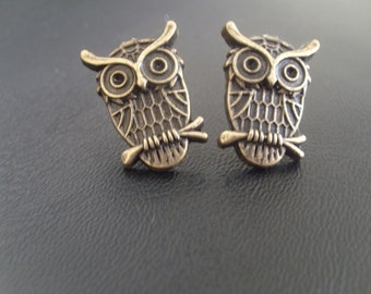 Brass Owl Stud Earrings