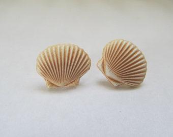 Seashell Stud Earrings, Ocean earrings, Summer studs
