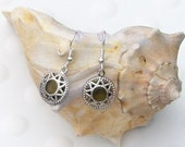 Silver Earrings with Emerald Star Pendant