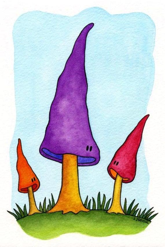 The Tall Mushrooms Watercolor Print