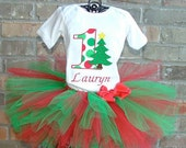 Machine Applique Design, Number One with Christmas Tree