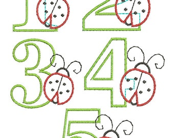 INSTANT DOWNLOAD, Machine Applique Design, Numbers 1-5 with Ladybug