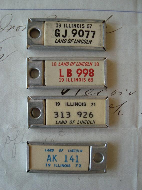 Four Minature License Plates - DAV Tags