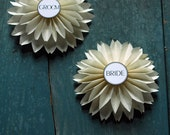 Bride & Groom White Dahlias, Wedding Paper Flower Ornaments, Table Settings, Origami Flowers