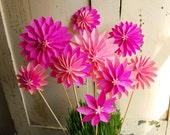 Paper Flowers,Special Mothers Day Bouquet, Pink Dahlia Mix - Spring Flowers - First Anniversary, Easter, Origami Flowers