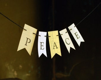 Peace Garland, Card or Gift, Petite Holiday Paper Banner