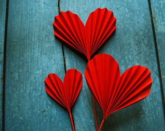 Origami Valentine, Red Heart Blossoms, Paper Hearts to add to a Bouquet