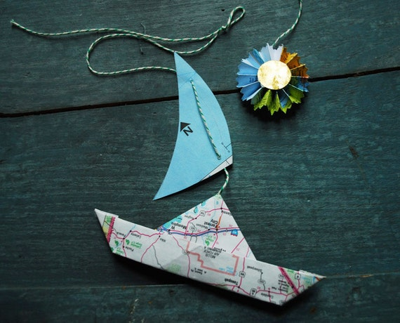For Laurel !!! 6 Paper Map Sailboats with 6 Sun & Star Rosettes, Nautical Sailor Ornaments
