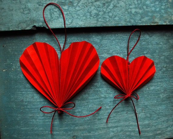 Valentine Heart Red Paper Ornaments, Holiday decoration