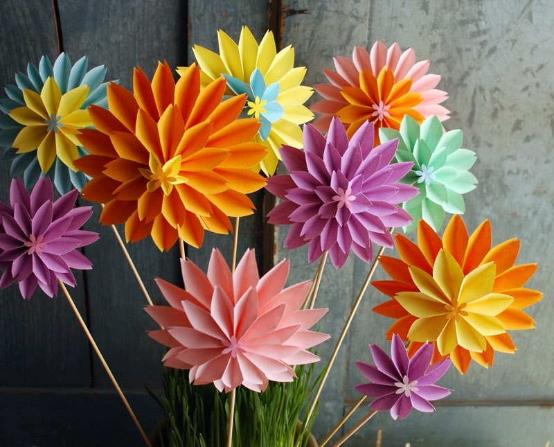 paper flowers mothers day bouquet pastel dahlia mix by paperaltar