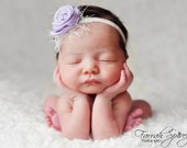 Lilac Flower Headband accented with a crystal and a little flair  Photo Prop