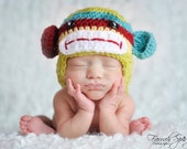 READY to SHIP Colorful Newborn Crochet Monkey Hat with Earflaps