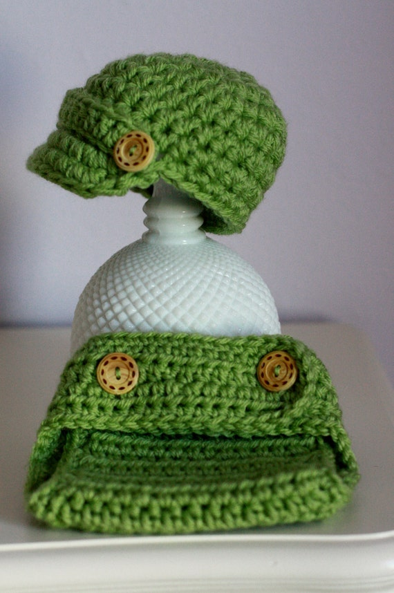 Newborn Newsboy Crochet Hat and Diaper Cover READY TO SHIP