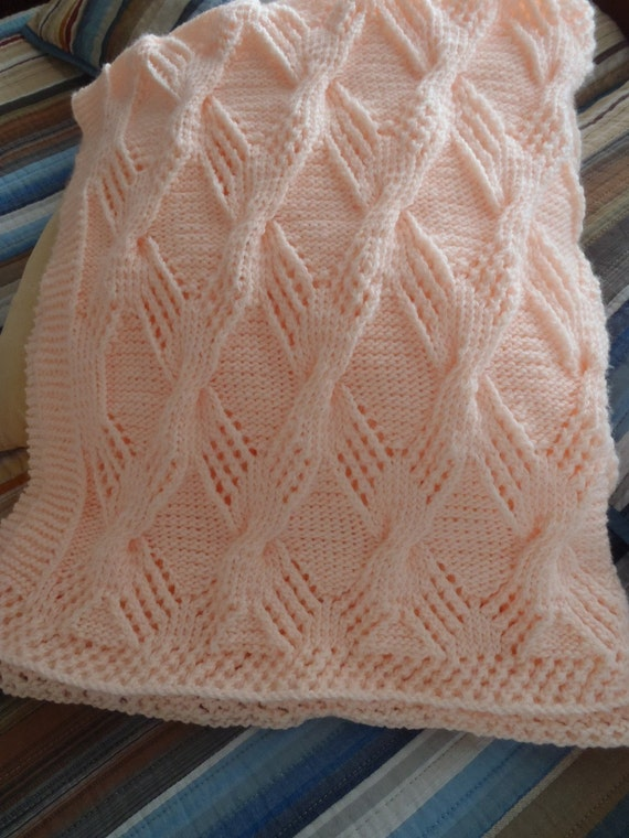 Knit Peach Baby Blanket