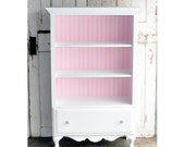 Bookcase with Drawer in Distressed White and Pink