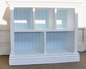 Children's Bookshelf with Cubby shelves in Distressed white and light blue