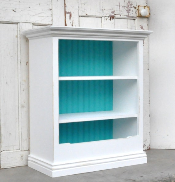 Items Similar To Distressed White Bookcase With Bin On Etsy