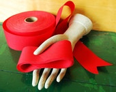 """Bright Red Ribbon, 10 Yards x 2 1/2"""", Destash Trimmed Fabric Ribbon for Valentine's day"""