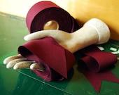 "Burgundy Ribbon, Trimmed Fabric, 10 Yards x 2 1/2"""